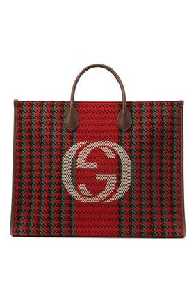 Мужская комбинированная сумка-тоут GUCCI красного цвета, арт. 644994/2J9BT   Фото 1
