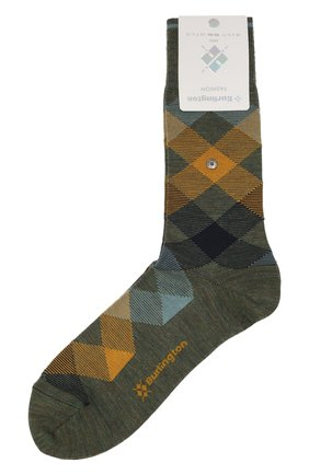Мужские шерстяные носки BURLINGTON хаки цвета, арт. 20587 | Фото 1