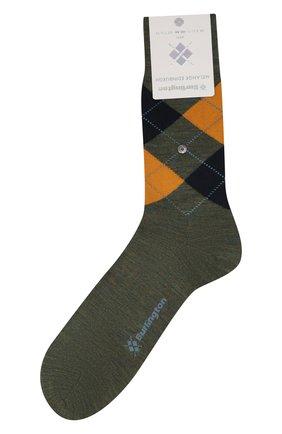 Мужские шерстяные носки BURLINGTON хаки цвета, арт. 21183 | Фото 1