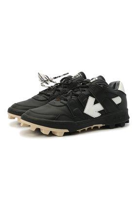 Мужские кожаные кроссовки mountain cleats OFF-WHITE черного цвета, арт. 0MIA210R21LEA0011001 | Фото 1 (Подошва: Массивная; Стили: Гранж; Материал внутренний: Текстиль)