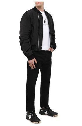 Мужские кожаные кроссовки mountain cleats OFF-WHITE черного цвета, арт. 0MIA210R21LEA0011001 | Фото 2 (Подошва: Массивная; Стили: Гранж; Материал внутренний: Текстиль)