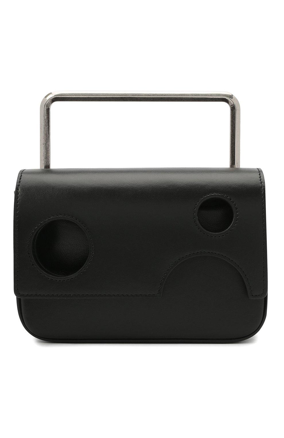 Мужская кожаная сумка OFF-WHITE черного цвета, арт. 0MNP003R21LEA001 | Фото 1 (Материал: Натуральная кожа; Ремень/цепочка: На ремешке)