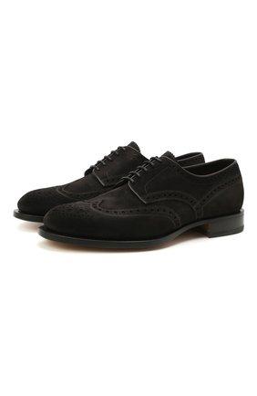 Мужские замшевые дерби SANTONI темно-серого цвета, арт. MCC015761PC4NRVLG56 | Фото 1 (Мужское Кросс-КТ: Броги-обувь; Стили: Классический; Материал внутренний: Натуральная кожа; Материал внешний: Замша)