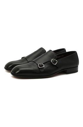 Мужские кожаные лоферы SANTONI черного цвета, арт. MCLI17570LA3SGTHN01 | Фото 1 (Стили: Классический; Мужское Кросс-КТ: Лоферы-обувь; Материал внутренний: Натуральная кожа)