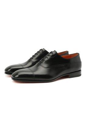 Мужские кожаные оксфорды SANTONI черного цвета, арт. MCME17516SA3EHMLN01 | Фото 1 (Материал внутренний: Натуральная кожа; Стили: Классический)