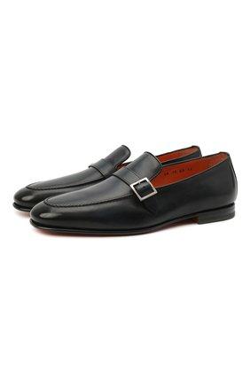 Мужские кожаные лоферы SANTONI темно-синего цвета, арт. MCNC17093SA3EMCGU59 | Фото 1 (Материал внутренний: Натуральная кожа; Мужское Кросс-КТ: Лоферы-обувь; Стили: Классический)