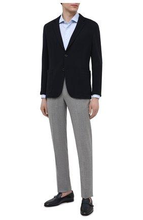 Мужские кожаные лоферы SANTONI темно-синего цвета, арт. MCNC17093SA3EMCGU59 | Фото 2 (Материал внутренний: Натуральная кожа; Мужское Кросс-КТ: Лоферы-обувь; Стили: Классический)