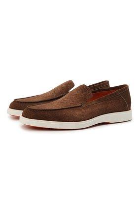 Мужские замшевые лоферы SANTONI темно-коричневого цвета, арт. MGDT17459BAREGYMS50 | Фото 1 (Мужское Кросс-КТ: Лоферы-обувь; Стили: Кэжуэл; Материал внутренний: Натуральная кожа; Материал внешний: Замша)
