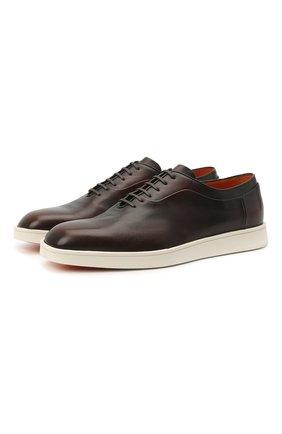 Мужские кожаные оксфорды SANTONI коричневого цвета, арт. MGMB17484BARECDWS52 | Фото 1 (Стили: Классический; Материал внутренний: Натуральная кожа)