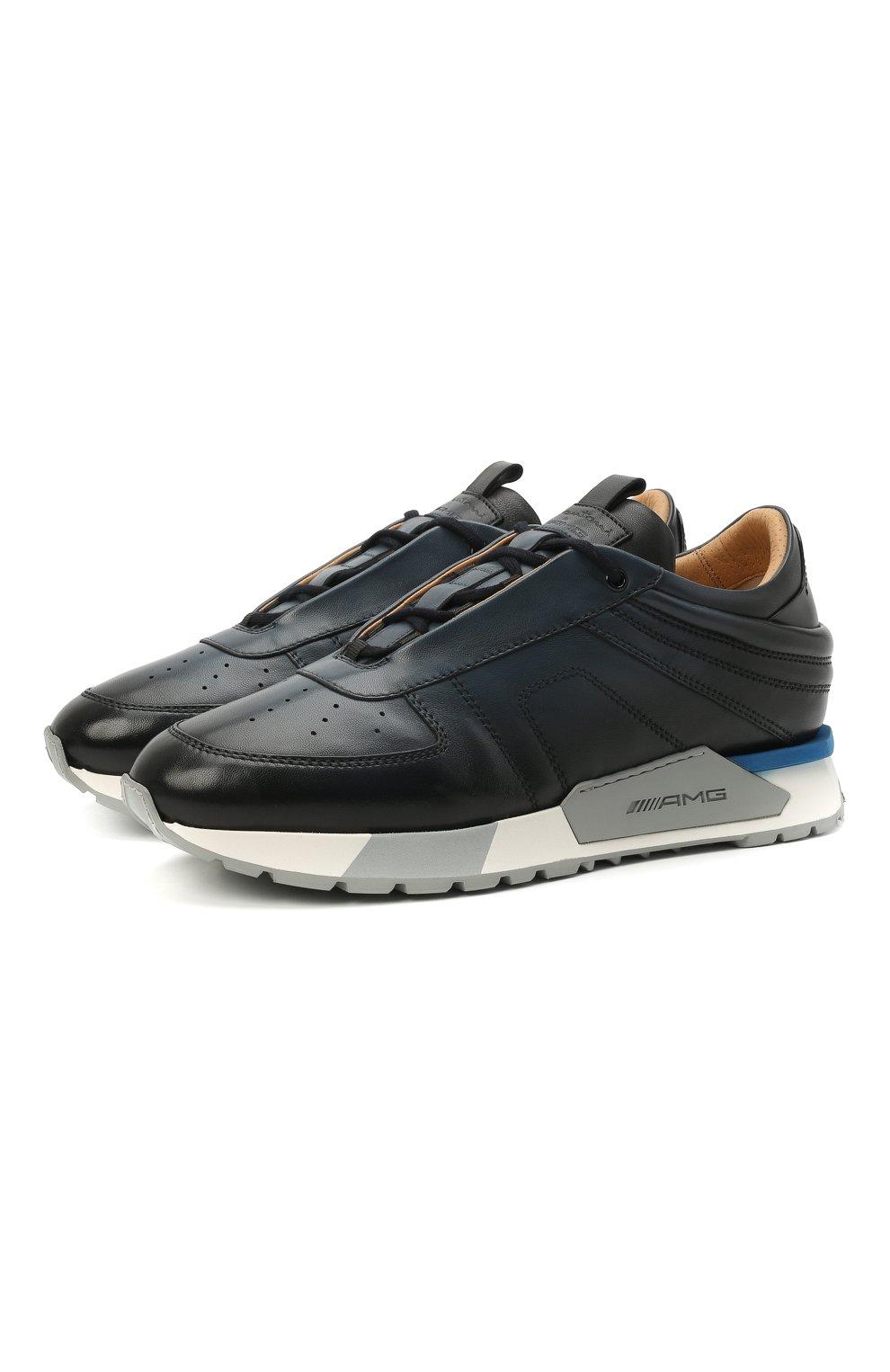 Мужские кожаные кроссовки SANTONI темно-синего цвета, арт. MSAM21413BBLMBDNU60 | Фото 1 (Материал внутренний: Натуральная кожа; Стили: Классический; Подошва: Массивная)