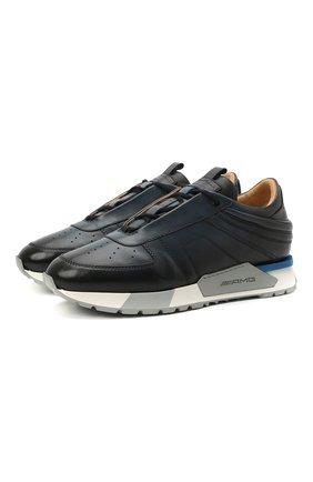 Мужские кожаные кроссовки SANTONI темно-синего цвета, арт. MSAM21413BBLMBDNU60 | Фото 1