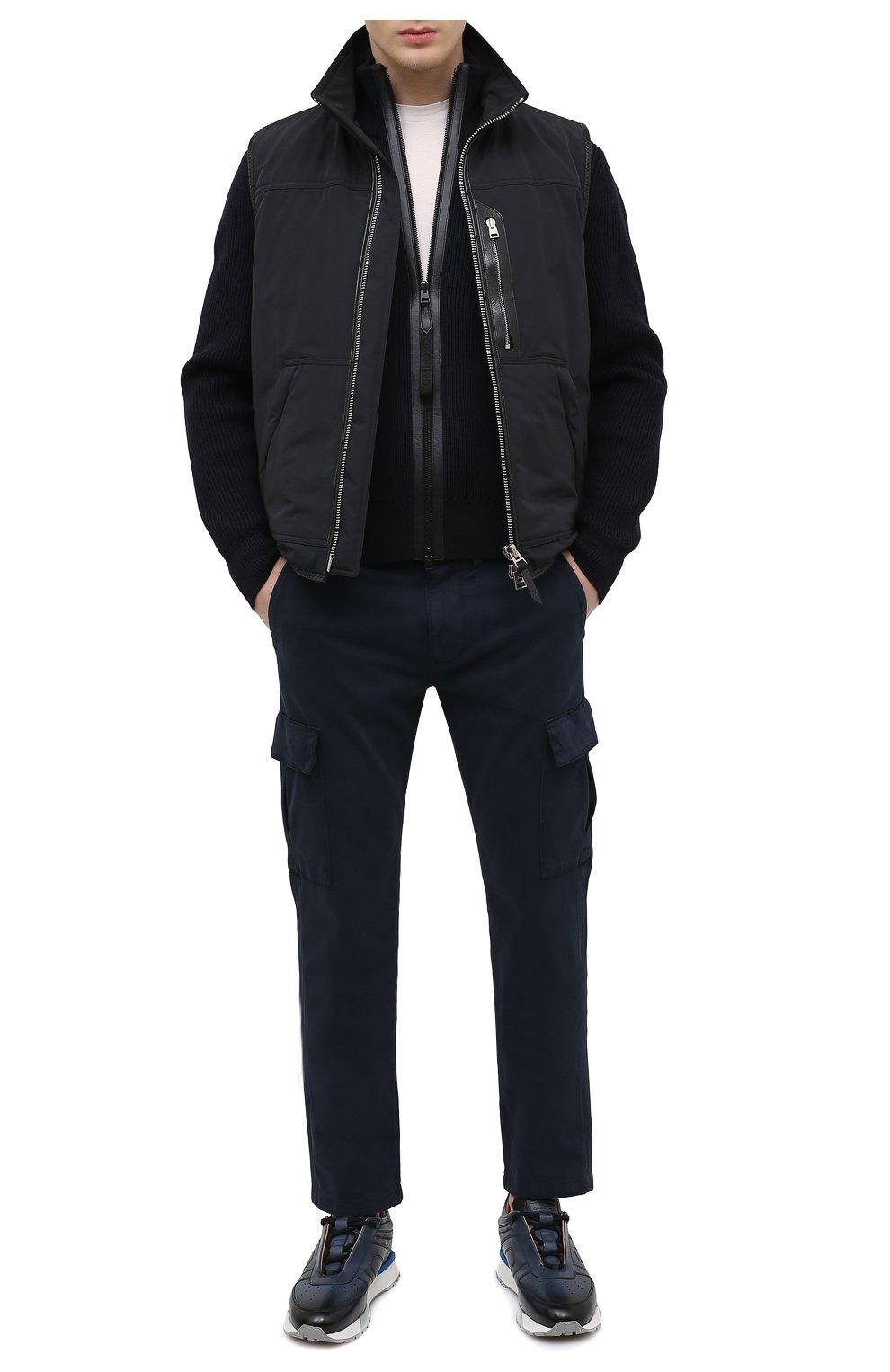 Мужские кожаные кроссовки SANTONI темно-синего цвета, арт. MSAM21413BBLMBDNU60 | Фото 2 (Материал внутренний: Натуральная кожа; Стили: Классический; Подошва: Массивная)