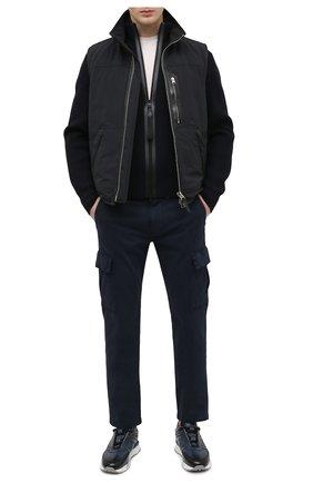 Мужские кожаные кроссовки SANTONI темно-синего цвета, арт. MSAM21413BBLMBDNU60 | Фото 2