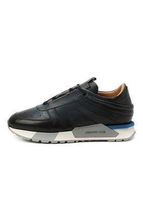 Мужские кожаные кроссовки SANTONI темно-синего цвета, арт. MSAM21413BBLMBDNU60 | Фото 3 (Материал внутренний: Натуральная кожа; Стили: Классический; Подошва: Массивная)