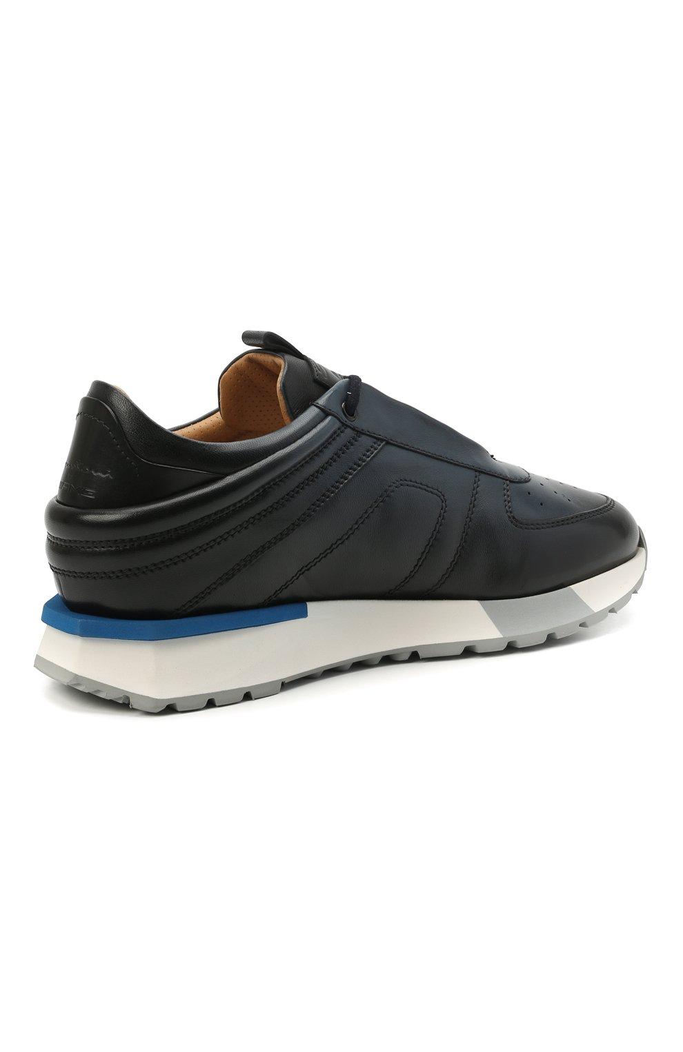 Мужские кожаные кроссовки SANTONI темно-синего цвета, арт. MSAM21413BBLMBDNU60 | Фото 4 (Материал внутренний: Натуральная кожа; Стили: Классический; Подошва: Массивная)