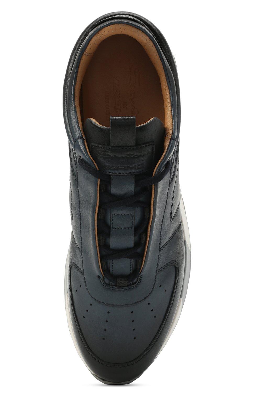 Мужские кожаные кроссовки SANTONI темно-синего цвета, арт. MSAM21413BBLMBDNU60 | Фото 5 (Материал внутренний: Натуральная кожа; Стили: Классический; Подошва: Массивная)