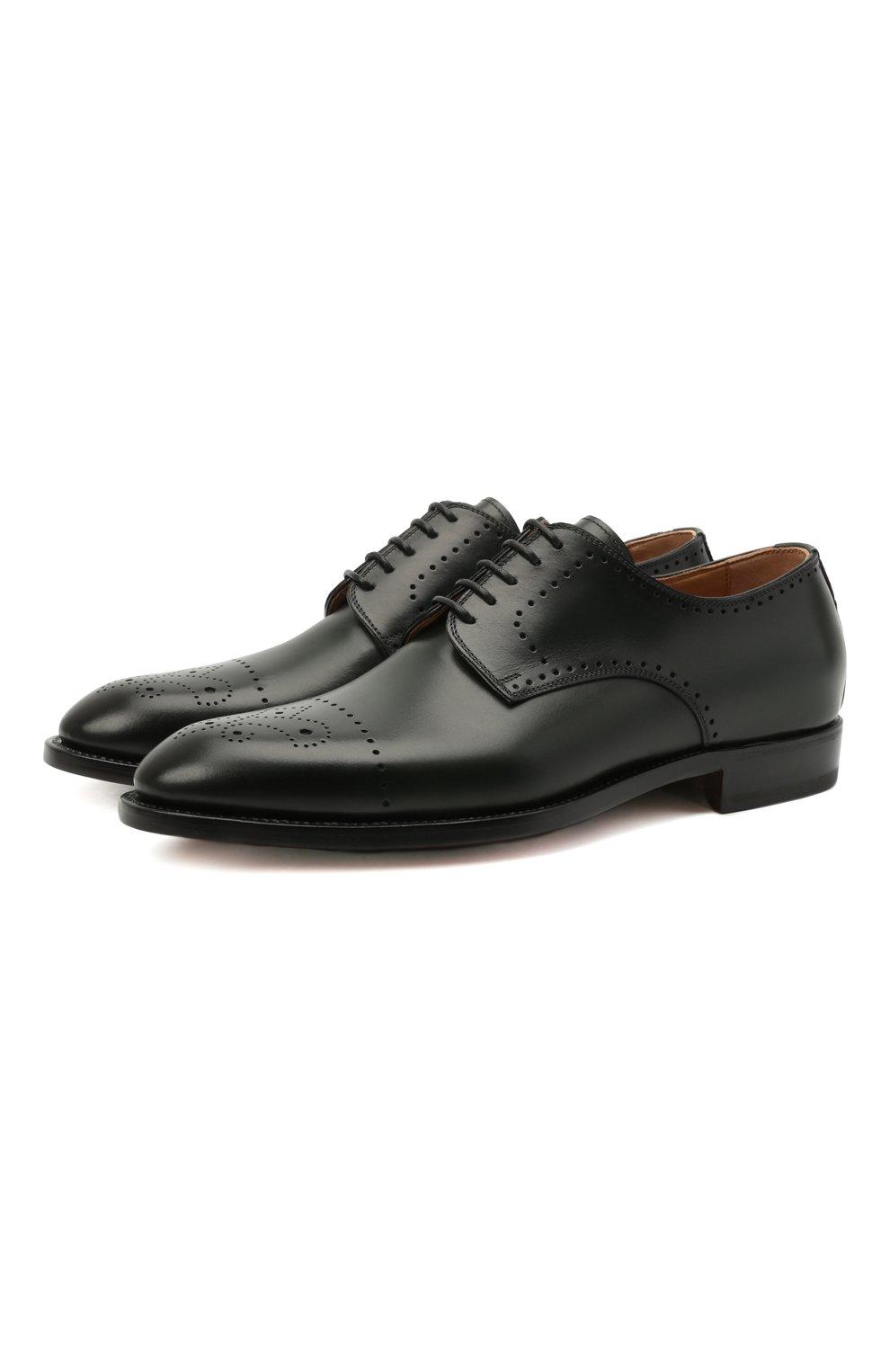 Мужские кожаные дерби KITON темно-зеленого цвета, арт. USSDECHN00101   Фото 1 (Мужское Кросс-КТ: Броги-обувь; Материал внутренний: Натуральная кожа; Стили: Классический)