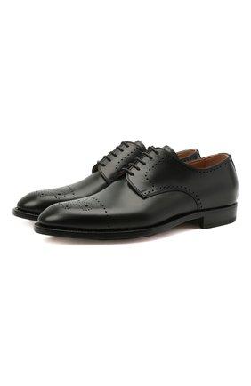 Мужские кожаные дерби KITON темно-зеленого цвета, арт. USSDECHN00101 | Фото 1 (Стили: Классический; Материал внутренний: Натуральная кожа; Мужское Кросс-КТ: Броги-обувь)