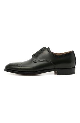 Мужские кожаные дерби KITON темно-зеленого цвета, арт. USSDECHN00101   Фото 3 (Мужское Кросс-КТ: Броги-обувь; Материал внутренний: Натуральная кожа; Стили: Классический)