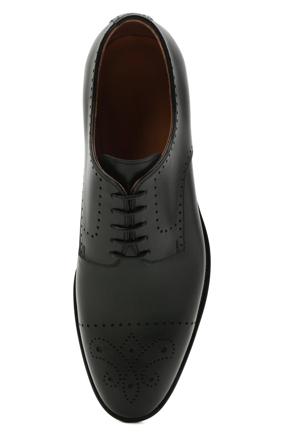 Мужские кожаные дерби KITON темно-зеленого цвета, арт. USSDECHN00101   Фото 5 (Мужское Кросс-КТ: Броги-обувь; Материал внутренний: Натуральная кожа; Стили: Классический)