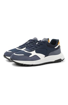 Мужские комбинированные кроссовки HOGAN синего цвета, арт. HXM5630DM90PJ1 | Фото 1