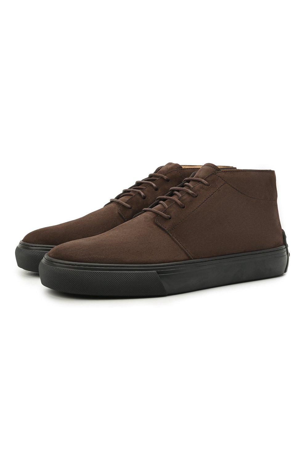 Мужские замшевые ботинки TOD'S темно-коричневого цвета, арт. XXM03E0EA50RE0 | Фото 1 (Мужское Кросс-КТ: Ботинки-обувь; Материал внутренний: Натуральная кожа; Подошва: Массивная; Материал внешний: Замша)