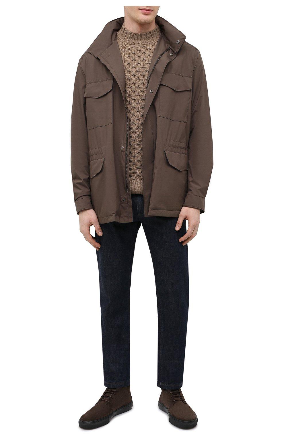 Мужские замшевые ботинки TOD'S темно-коричневого цвета, арт. XXM03E0EA50RE0 | Фото 2 (Мужское Кросс-КТ: Ботинки-обувь; Материал внутренний: Натуральная кожа; Подошва: Массивная; Материал внешний: Замша)