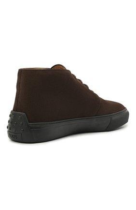 Мужские замшевые ботинки TOD'S темно-коричневого цвета, арт. XXM03E0EA50RE0 | Фото 4 (Мужское Кросс-КТ: Ботинки-обувь; Материал внутренний: Натуральная кожа; Подошва: Массивная; Материал внешний: Замша)