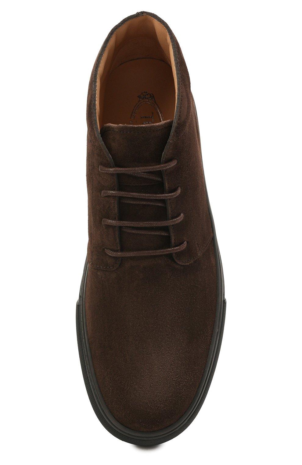 Мужские замшевые ботинки TOD'S темно-коричневого цвета, арт. XXM03E0EA50RE0 | Фото 5 (Мужское Кросс-КТ: Ботинки-обувь; Материал внутренний: Натуральная кожа; Подошва: Массивная; Материал внешний: Замша)