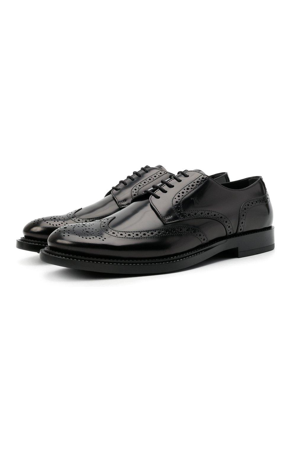 Мужские кожаные дерби TOD'S черного цвета, арт. XXM62C00C10AKT | Фото 1 (Материал внешний: Кожа; Мужское Кросс-КТ: Броги-обувь; Материал внутренний: Натуральная кожа; Стили: Классический)
