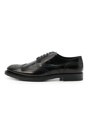 Мужские кожаные дерби TOD'S черного цвета, арт. XXM62C00C10AKT | Фото 3 (Материал внешний: Кожа; Мужское Кросс-КТ: Броги-обувь; Материал внутренний: Натуральная кожа; Стили: Классический)