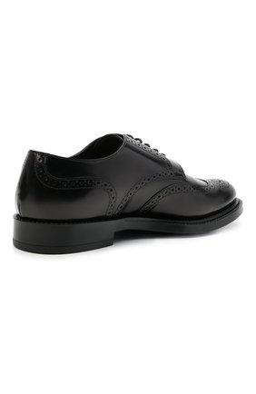 Мужские кожаные дерби TOD'S черного цвета, арт. XXM62C00C10AKT | Фото 4 (Материал внешний: Кожа; Мужское Кросс-КТ: Броги-обувь; Материал внутренний: Натуральная кожа; Стили: Классический)