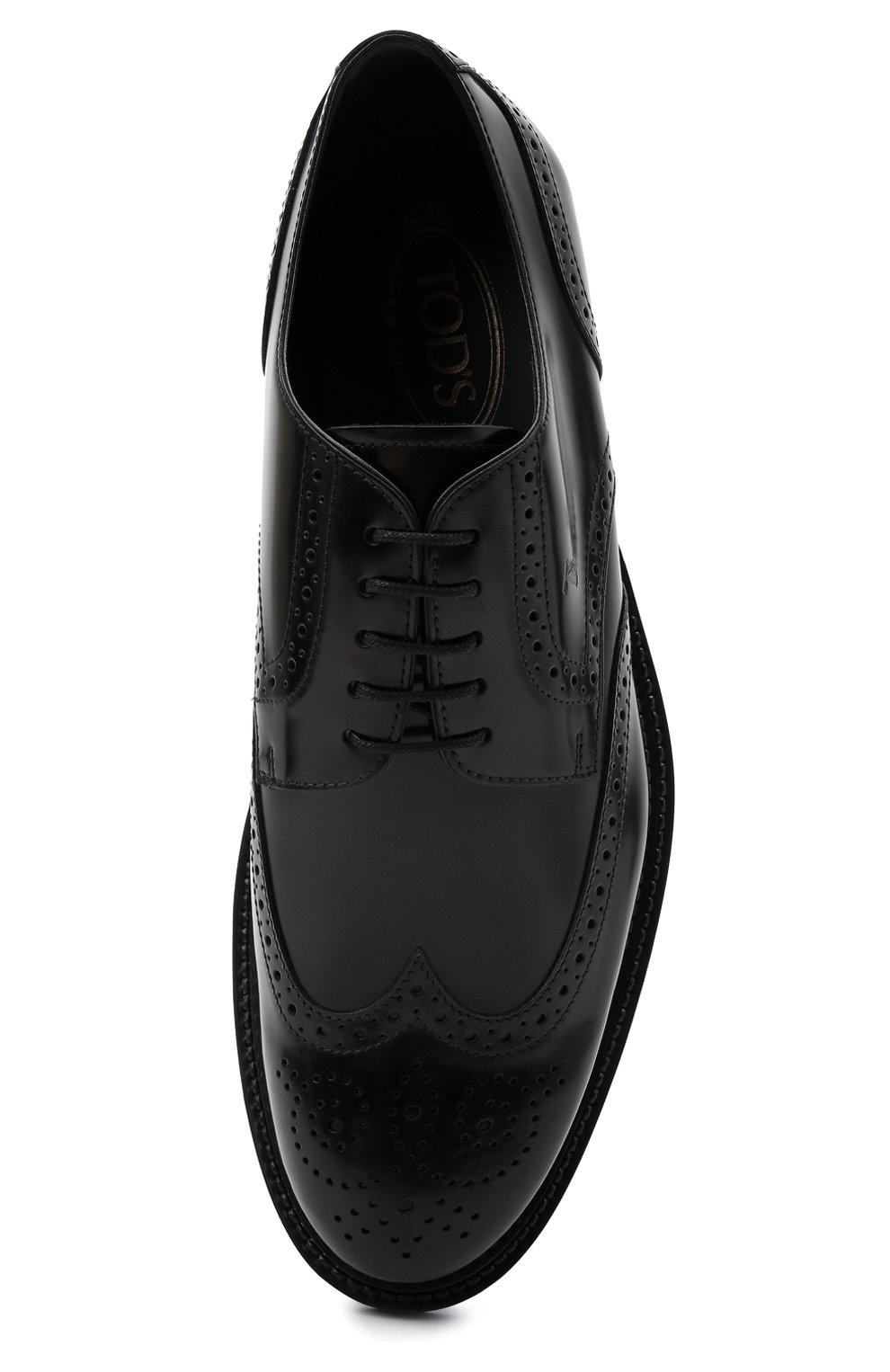 Мужские кожаные дерби TOD'S черного цвета, арт. XXM62C00C10AKT | Фото 5 (Материал внешний: Кожа; Мужское Кросс-КТ: Броги-обувь; Материал внутренний: Натуральная кожа; Стили: Классический)