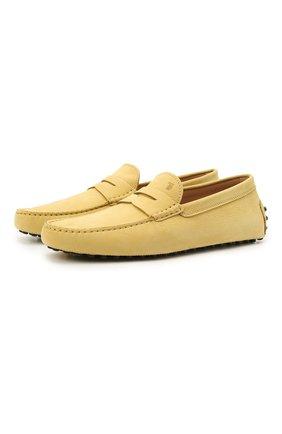 Мужские кожаные мокасины TOD'S желтого цвета, арт. XXM64C006406RN | Фото 1