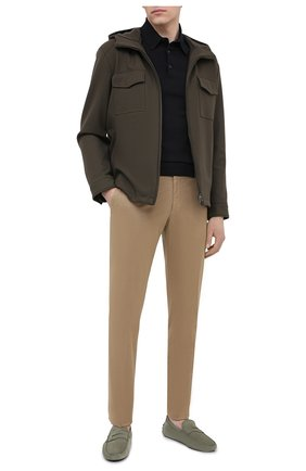 Мужские кожаные мокасины TOD'S светло-зеленого цвета, арт. XXM64C006406RN | Фото 2 (Материал внутренний: Натуральная кожа; Стили: Кэжуэл)