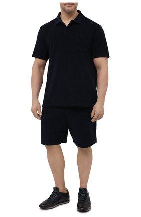 Мужские хлопковые шорты RALPH LAUREN темно-синего цвета, арт. 790786107   Фото 2 (Материал внешний: Хлопок; Принт: Без принта; Стили: Кэжуэл; Длина Шорты М: До колена; Кросс-КТ: Спорт)