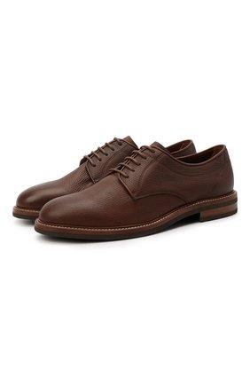 Мужские кожаные дерби BRUNELLO CUCINELLI коричневого цвета, арт. MZUCSLK938 | Фото 1 (Стили: Классический; Материал внутренний: Натуральная кожа)
