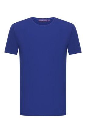 Мужская хлопковая футболка RALPH LAUREN синего цвета, арт. 790508153 | Фото 1 (Принт: Без принта; Длина (для топов): Стандартные; Материал внешний: Хлопок; Рукава: Короткие; Стили: Кэжуэл)