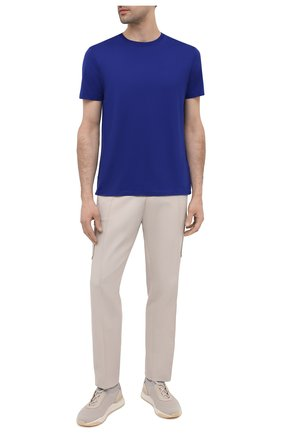 Мужская хлопковая футболка RALPH LAUREN синего цвета, арт. 790508153 | Фото 2 (Принт: Без принта; Длина (для топов): Стандартные; Материал внешний: Хлопок; Рукава: Короткие; Стили: Кэжуэл)