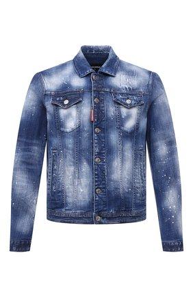 Мужская джинсовая куртка DSQUARED2 темно-синего цвета, арт. S74AM1136/S30342 | Фото 1 (Рукава: Длинные; Кросс-КТ: Куртка, Деним; Длина (верхняя одежда): Короткие; Стили: Гранж; Материал внешний: Хлопок)