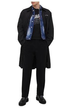 Мужская джинсовая куртка DSQUARED2 темно-синего цвета, арт. S74AM1136/S30342 | Фото 2 (Рукава: Длинные; Кросс-КТ: Куртка, Деним; Длина (верхняя одежда): Короткие; Стили: Гранж; Материал внешний: Хлопок)