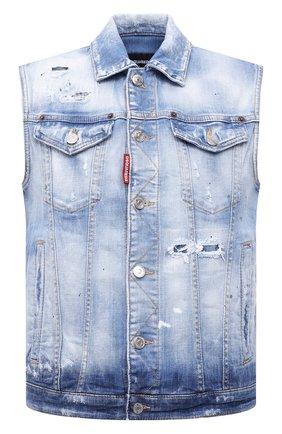 Мужской джинсовый жилет DSQUARED2 темно-синего цвета, арт. S74FB0270/S30342 | Фото 1 (Кросс-КТ: Деним; Стили: Гранж; Длина (верхняя одежда): Короткие; Материал внешний: Хлопок)
