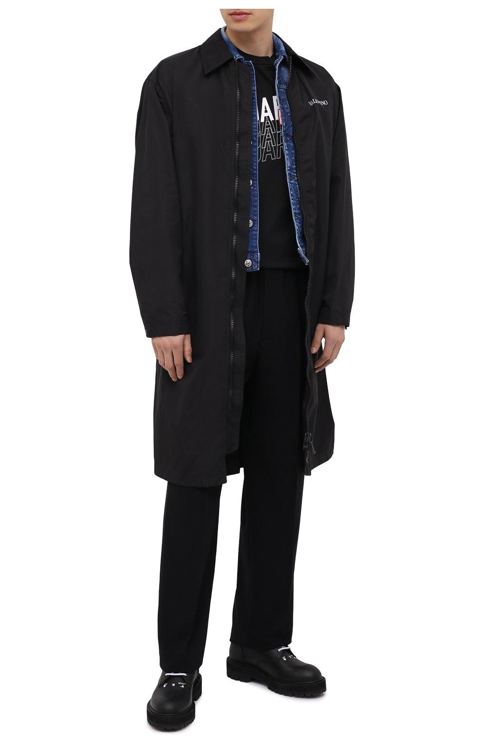 Мужская хлопковая футболка DSQUARED2 черного цвета, арт. S74GD0829/S22427   Фото 2 (Рукава: Короткие; Длина (для топов): Стандартные; Стили: Гранж; Принт: С принтом; Материал внешний: Хлопок)