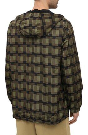 Мужская куртка DRIES VAN NOTEN хаки цвета, арт. 211-20509-2133   Фото 4 (Кросс-КТ: Куртка, Ветровка; Рукава: Длинные; Длина (верхняя одежда): До середины бедра; Материал внешний: Синтетический материал; Стили: Гранж; Принт: С принтом; Материал подклада: Синтетический материал)