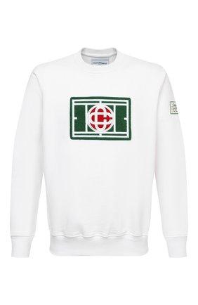 Мужской хлопковый свитшот CASABLANCA белого цвета, арт. MS21-JTP-001 WHITE-TENNIS C0URT | Фото 1