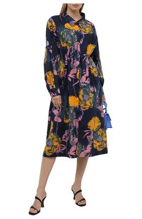 Женское хлопковое платье DRIES VAN NOTEN темно-синего цвета, арт. 211-31031-2084 | Фото 2