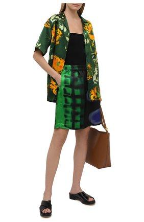 Женская блузка из смеси вискозы и шелка DRIES VAN NOTEN зеленого цвета, арт. 211-30784-2089 | Фото 2