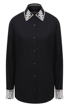 Женская хлопковая рубашка DRIES VAN NOTEN черного цвета, арт. 211-30783-2293 | Фото 1