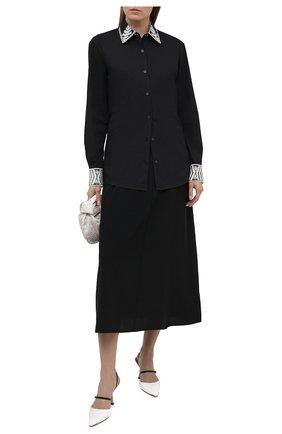 Женская хлопковая рубашка DRIES VAN NOTEN черного цвета, арт. 211-30783-2293 | Фото 2
