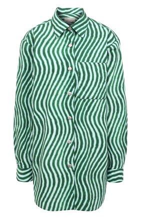 Женская хлопковая рубашка DRIES VAN NOTEN зеленого цвета, арт. 211-30731-2009 | Фото 1